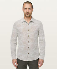 Lululemon Men's Down To The Wire Shirt LS MUFT Microcube White Frontier