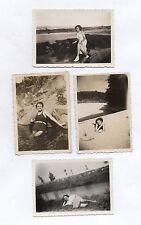 Lot 5 PHOTOS Femme Plage Maillot de bain Jambes Pin up Snapshot Vintage 1944