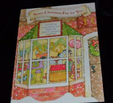 Vtg UNUSED Greeting Card CHRISTMAS TOY SHOP Hallmark LIFT UP Noah's Ark Castle
