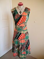 TEABERRY Cream Orange Green DRESS Size 16 Baroque Paisley Black Bodycon Stretch