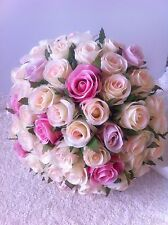 IVORY & PINK & ORCHID ROSES POSY 60 BUDS WEDDING  BOUQUET ARTIFICIAL SILK FLOWER