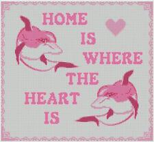 """Dolphin rose maison est où le cœur est Cross stitch kit échantillonneur 11.5 """"x 10.5"""""""
