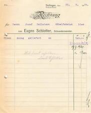 Vecchia FATTURA, Dettingen (Horb) Eugen schlotter Schneider maestro 1929 #e749
