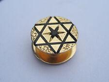 Antique Victorian Edwardian Solid 14K Yellow Gold Enamel Cufflink Stud Button