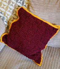 Handmade Knitted Cushion burgundy red orange Trim Zip One Of A Kind chunky knit