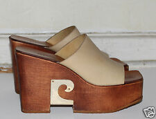 PIERRE CARDIN vintage wood platform clog shoes tan leather 6.5 2A hippie