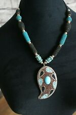 """Ethnic Turquoise and Black Beaded Necklace with Pendant 12.5"""" (32cm) Drop"""