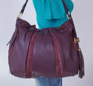 AIMEE KESTENBERG Large Purple Leather Suede Shoulder Hobo Tote Satchel Purse Bag