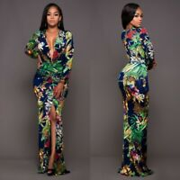 Women Sexy Slim Party Printing Long sleeve Maxi Dress Ball Gown Evening Dresses