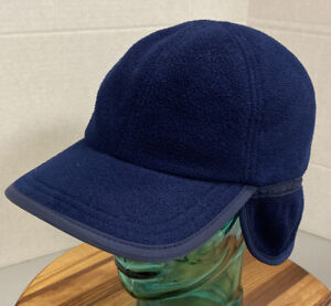 VINTAGE LANDS' END YOUTH DARK BLUE TRAPPER/AVIATOR STYLE HAT SIZE LARGE USA MADE