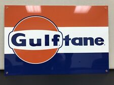Gulf tane advertising gasoline oil sign vintage baked large 12x18 inch