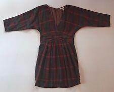 EUC Women's Silence + Noise Merlot Red Plaid Flannel Lined Dress-Sz 0