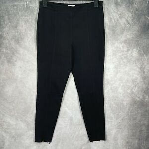 WHISTLES Black Fitted Skinny Trousers Zip Ankle UK 14 Cotton Blend
