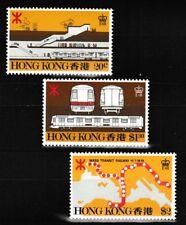 Mass Transit Railway 3 mnh stamps 1979 Hong Kong #358-60 train railroad map