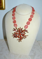 "NIB $250 HEIDI DAUS ""Sea Folly"" Coral Crystal Pendant Necklace Stunning"
