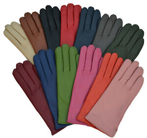 Klassisch Damen Handschuhe Lederhandschuhe Fingerhandschuhe echt Leder gefüttert