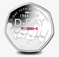 🇬🇮 GIBRALTAR 🇬🇮 50p coin 2019 D DAY Rare Uncirculated COLOURED Fifty Pence