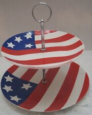 American Flag Patriotic 2-Tier Dessert Plate Ceramic July 4th Party Gift