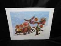 Anna Huong Alaska Arctic Children 1982 Eskimo Kids Sledding Art Print Signed AK