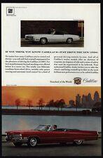 1967 CADILLAC DEVILLE Red Convertible & FLEETWOOD ELDORADO White Car VINTAGE AD