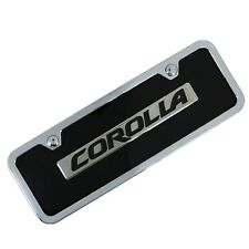 Toyota Corolla Name Badge On Black License Plate + Frame
