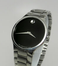 Mens Authentic Swiss Made Movado Serio 0606382 Stainless Black Museum Dial Watch