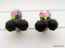 Große, schwarze Plastik Kugel & Aurora Borealis Ohrclips Ohrringe, Bold Earrings