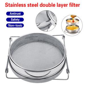 Honey Strainer Double Sieve Beekeeping Equipment Filter Tool Kit Stainless Steel