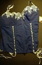 Corset One-piece Bra Navy Lace-up Blue w/ White Lace NEW NWT Sz L by Dreamgirl