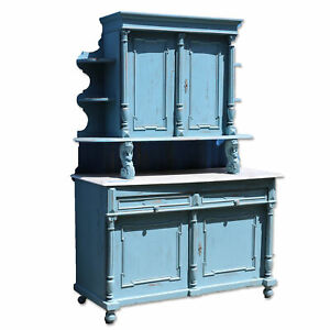 Antique Blue Painted Marble Top Sideboard Cabinet