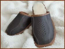 Mens Natural Leather Wool Slippers Brown Warm Shoes Winter size 7 8 9 10 11 12