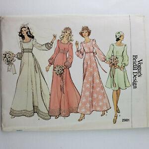 Vogue Bridal Design Pattern 2981 UNCUT  Misses' Bridal Dress  Size 14