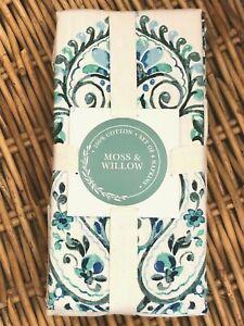 Moss & Willow Set of 4 Paisley Medallion Cotton Napkins Blue Green