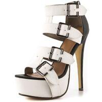WOmen's High Heel Stilettos Platform Roma Gladiator Buckle Strap Sandals Shoes