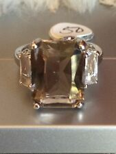 Sterling Silver Smoky Quartz Ring with Cubic Zirconia Size 9