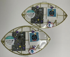 Lot Of 2 Gold Colored Yoobi Wire Board includes 3 Clips Cosmic Eye Crystal