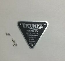 "TRIUMPH PATENT PLATE "" TIGER 100""  WITH RIVETS  500"