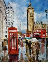 YARY DLUHOS ORIGINAL ART OIL PAINTING London City Street Rain Big Ben Parliament