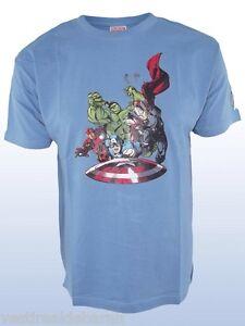 T-Shirt Supereroi Maglietta Uomo Marvel Originale H&W C109 Grigio/Azzurro Tg L