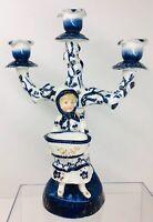 Antique Cold Paste Porcelain French 3-Branch Candelabra, Girl  Blue White