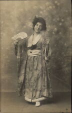 White Woman Dressed as Japanese Geisha Costume & Fan c1910 RPPC