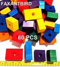 Wooden Colored 60 Large Wood Blocks Bird Parrot Toys african grey cockatoo macaw