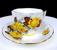 "ROYAL PRINCE #X1338/86 YELLOW ROSES GOLD TRIM 2 5/8"" FLUTED CUP AND SAUCER SET"