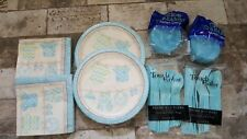 98 Piece Baby Boy Shower Party Supplies Set Including Plates Cups Table Napki.