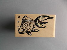 100 PROOF PRESS RUBBER STAMPS GOLDFISH SWIMMING LEFT NEW wood STAMP