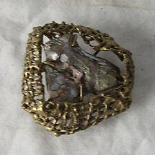 Custom Designed Abalone and Brass Belt Buckle