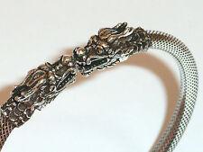 925 Silber Armreif mit Drachen, fein ausgearbeitet, Größe verstellbar - 19,1 g