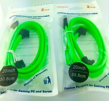 "4 PACK LOT BRAIDED SATA III 6GB DATA SSD/HDD CABLE 21""  Green Fluorescent"