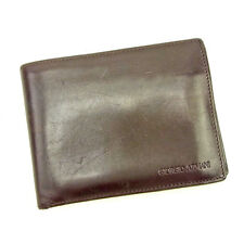 Giorgio Armani Wallet Purse Bifold Logo Brown Woman unisex Authentic Used L1854
