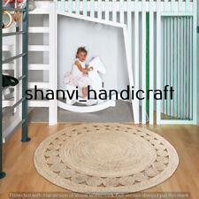 Braided Handmade Indian Natural Jute Rug Home Decor Round 3 Feet Area Rug Carpet